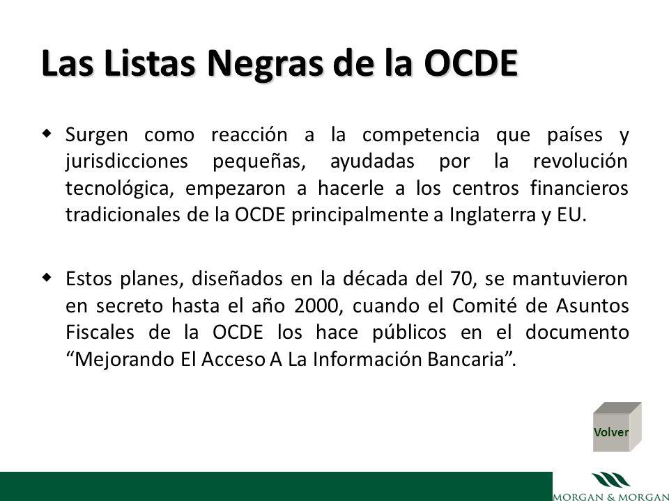 Las Listas Negras de la OCDE Surgen como reacción a la competencia que países y jurisdicciones pequeñas, ayudadas por la revolución tecnológica, empez