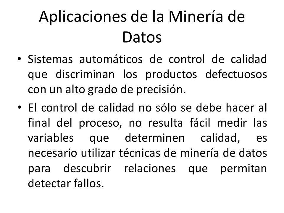 Aplicaciones de la Minería de Datos Sistemas automáticos de control de calidad que discriminan los productos defectuosos con un alto grado de precisió