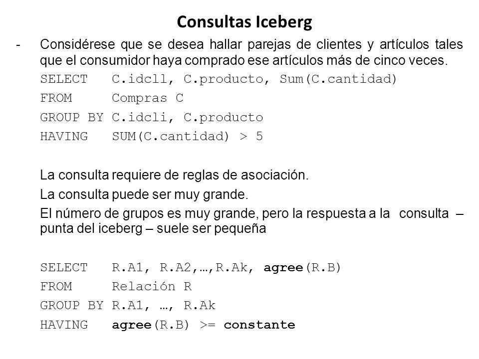 Consultas Iceberg -Considérese que se desea hallar parejas de clientes y artículos tales que el consumidor haya comprado ese artículos más de cinco ve