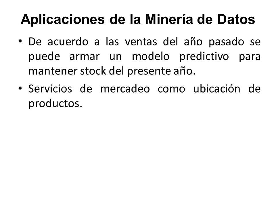 Aplicaciones de la Minería de Datos De acuerdo a las ventas del año pasado se puede armar un modelo predictivo para mantener stock del presente año. S
