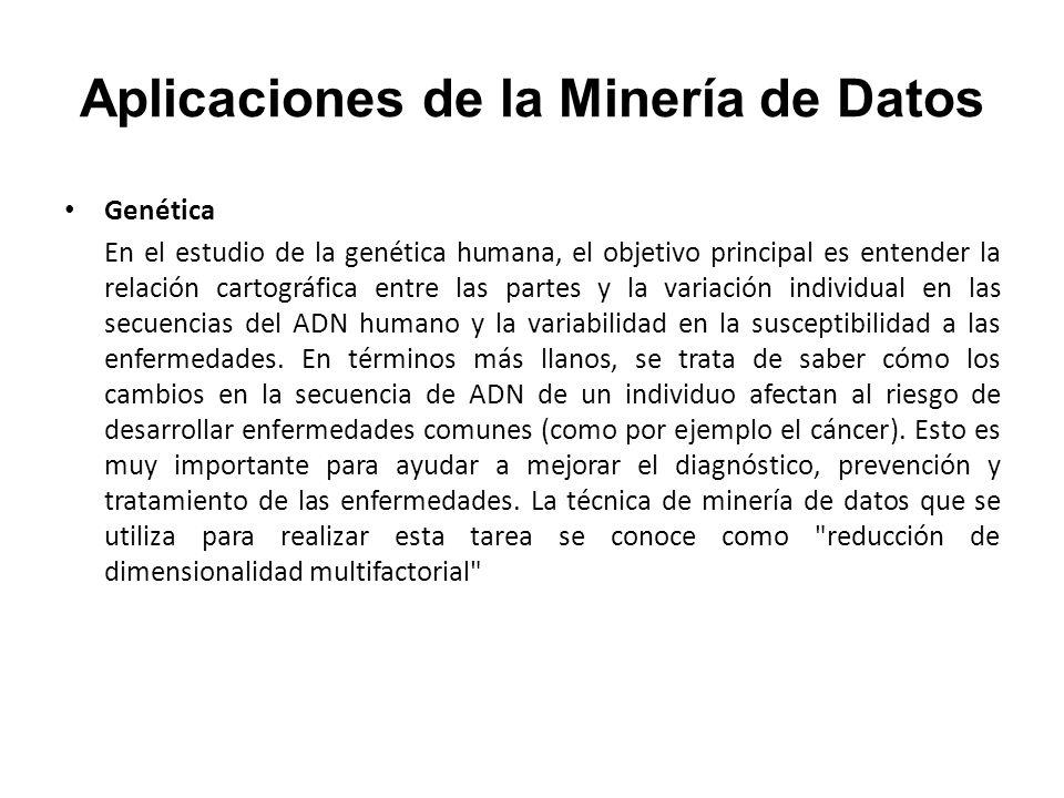 Aplicaciones de la Minería de Datos Genética En el estudio de la genética humana, el objetivo principal es entender la relación cartográfica entre las