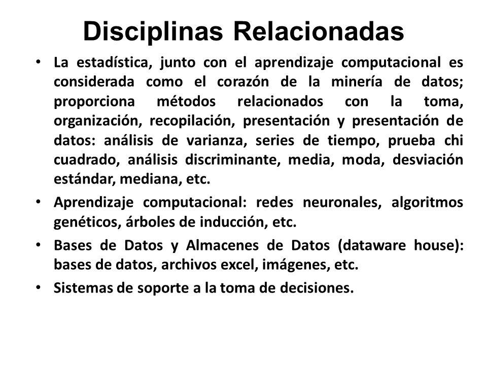 Disciplinas Relacionadas La estadística, junto con el aprendizaje computacional es considerada como el corazón de la minería de datos; proporciona mét