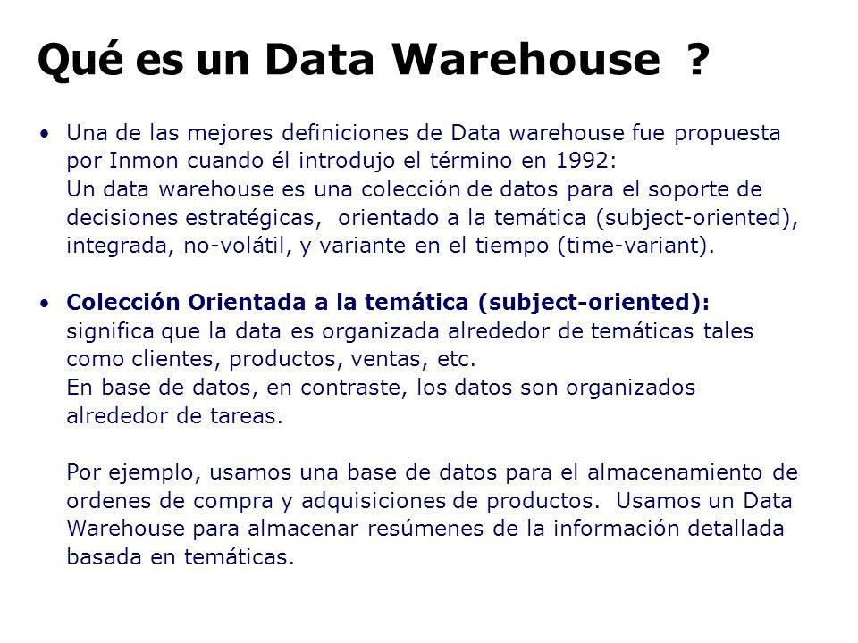 Una de las mejores definiciones de Data warehouse fue propuesta por Inmon cuando él introdujo el término en 1992: Un data warehouse es una colección d