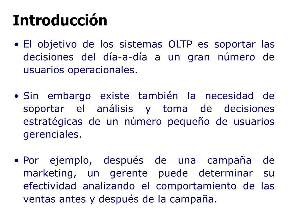 El objetivo de los sistemas OLTP es soportar las decisiones del día-a-día a un gran número de usuarios operacionales. Sin embargo existe también la ne