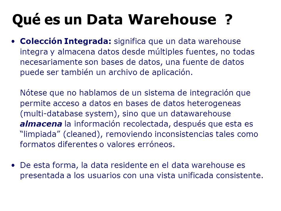 Colección Integrada: significa que un data warehouse integra y almacena datos desde múltiples fuentes, no todas necesariamente son bases de datos, una