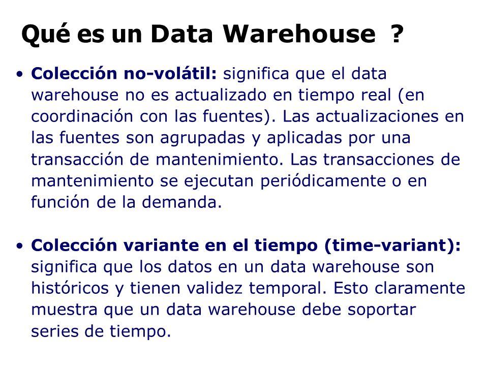 Colección no-volátil: significa que el data warehouse no es actualizado en tiempo real (en coordinación con las fuentes). Las actualizaciones en las f