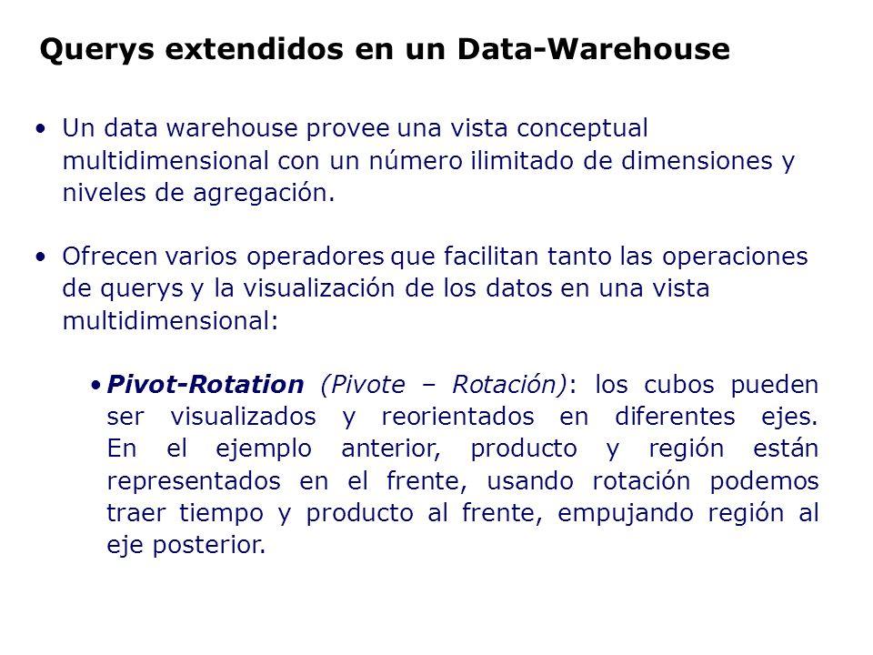 Un data warehouse provee una vista conceptual multidimensional con un número ilimitado de dimensiones y niveles de agregación. Ofrecen varios operador