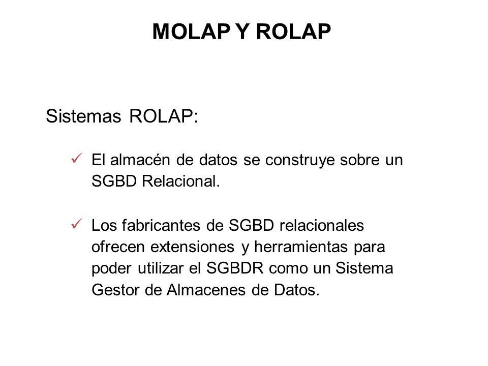 Sistemas ROLAP: El almacén de datos se construye sobre un SGBD Relacional. Los fabricantes de SGBD relacionales ofrecen extensiones y herramientas par
