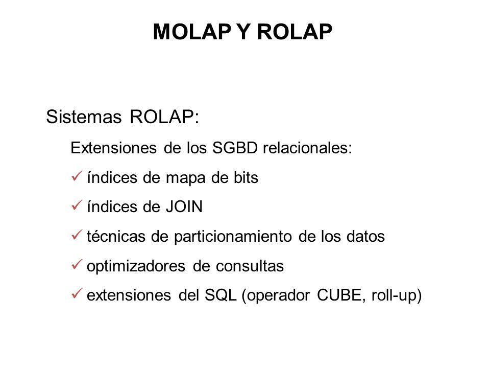 Sistemas ROLAP: Extensiones de los SGBD relacionales: índices de mapa de bits índices de JOIN técnicas de particionamiento de los datos optimizadores