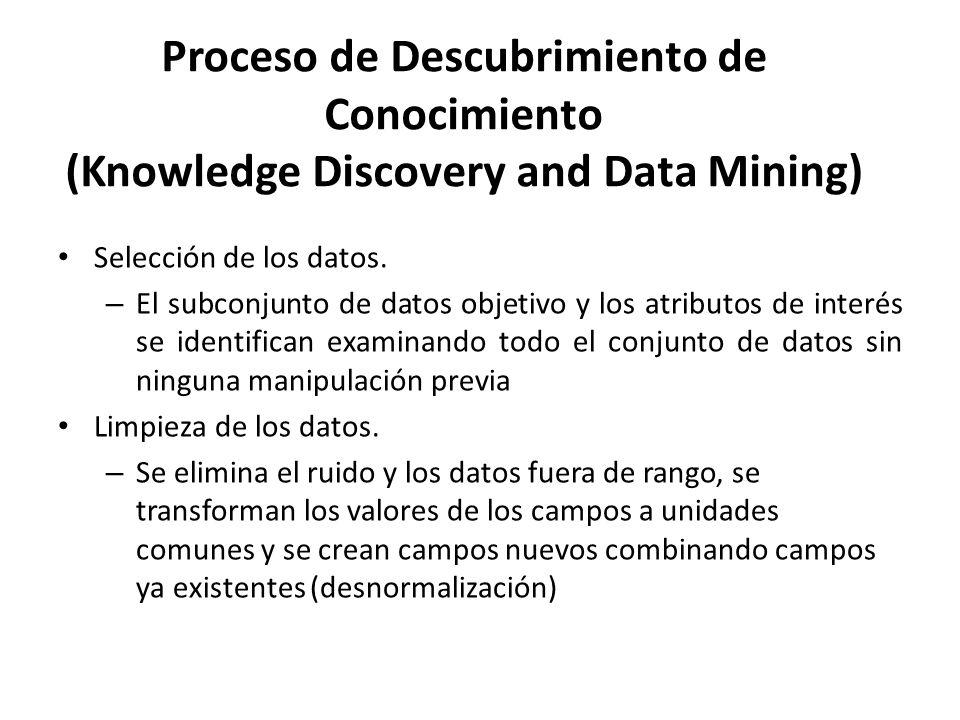 Proceso de Descubrimiento de Conocimiento (Knowledge Discovery and Data Mining) Selección de los datos. – El subconjunto de datos objetivo y los atrib