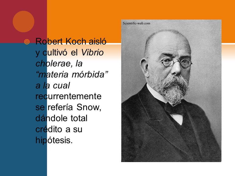 Robert Koch aisló y cultivó el Vibrio cholerae, la materia mórbida a la cual recurrentemente se refería Snow, dándole total crédito a su hipótesis.