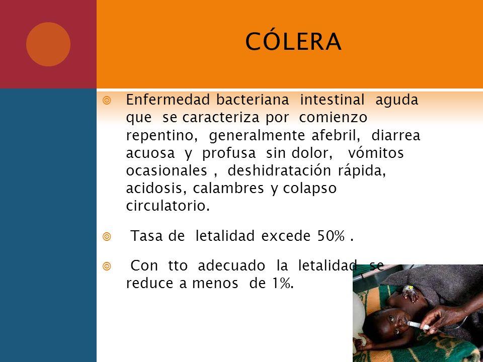 CÓLERA Enfermedad bacteriana intestinal aguda que se caracteriza por comienzo repentino, generalmente afebril, diarrea acuosa y profusa sin dolor, vóm
