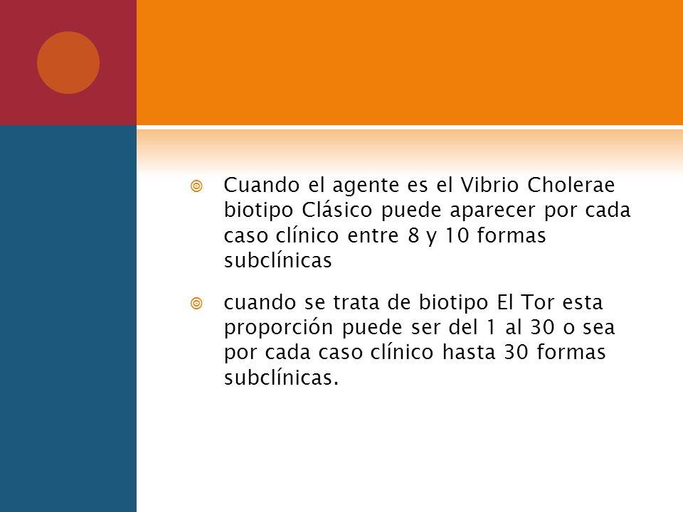 Cuando el agente es el Vibrio Cholerae biotipo Clásico puede aparecer por cada caso clínico entre 8 y 10 formas subclínicas cuando se trata de biotipo