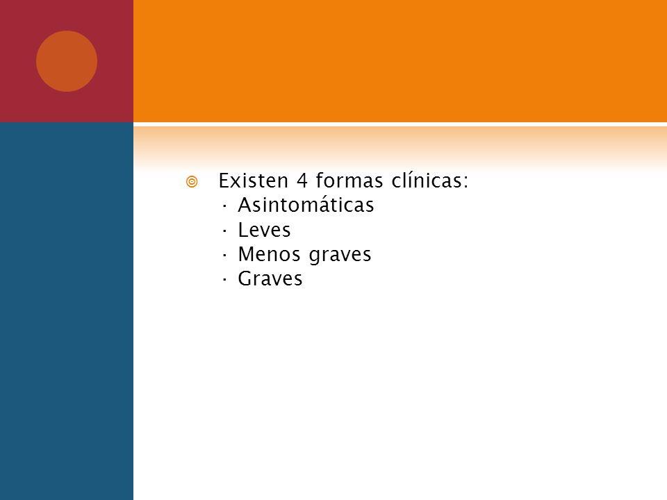 Existen 4 formas clínicas: · Asintomáticas · Leves · Menos graves · Graves