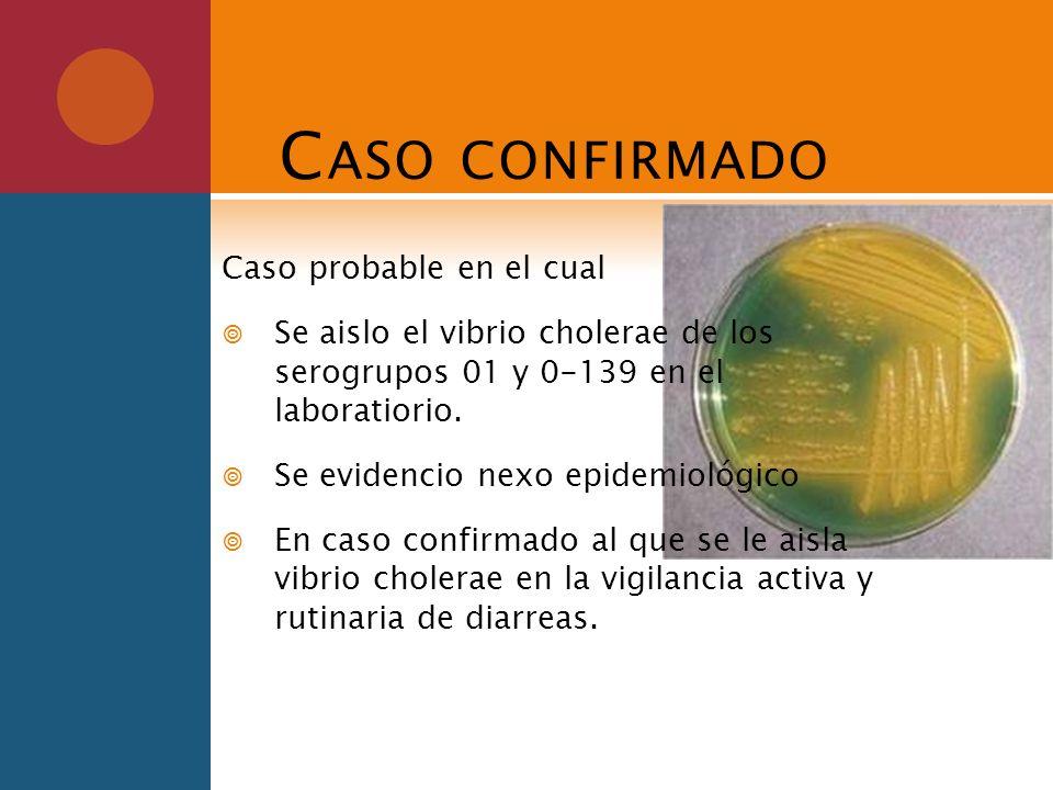 C ASO CONFIRMADO Caso probable en el cual Se aislo el vibrio cholerae de los serogrupos 01 y 0-139 en el laboratiorio. Se evidencio nexo epidemiológic