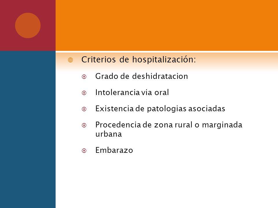 Criterios de hospitalización: Grado de deshidratacion Intolerancia via oral Existencia de patologias asociadas Procedencia de zona rural o marginada u