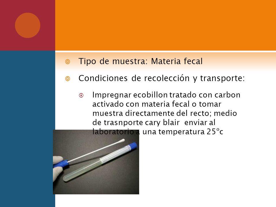 Tipo de muestra: Materia fecal Condiciones de recolección y transporte: Impregnar ecobillon tratado con carbon activado con materia fecal o tomar mues