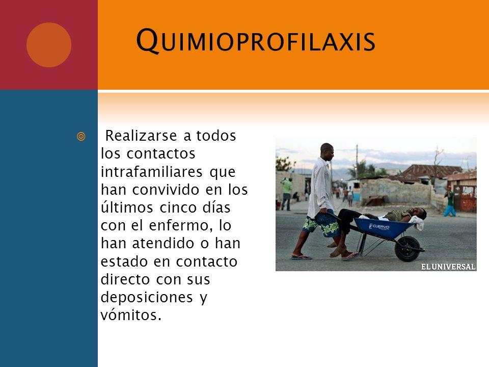 Q UIMIOPROFILAXIS Realizarse a todos los contactos intrafamiliares que han convivido en los últimos cinco días con el enfermo, lo han atendido o han e
