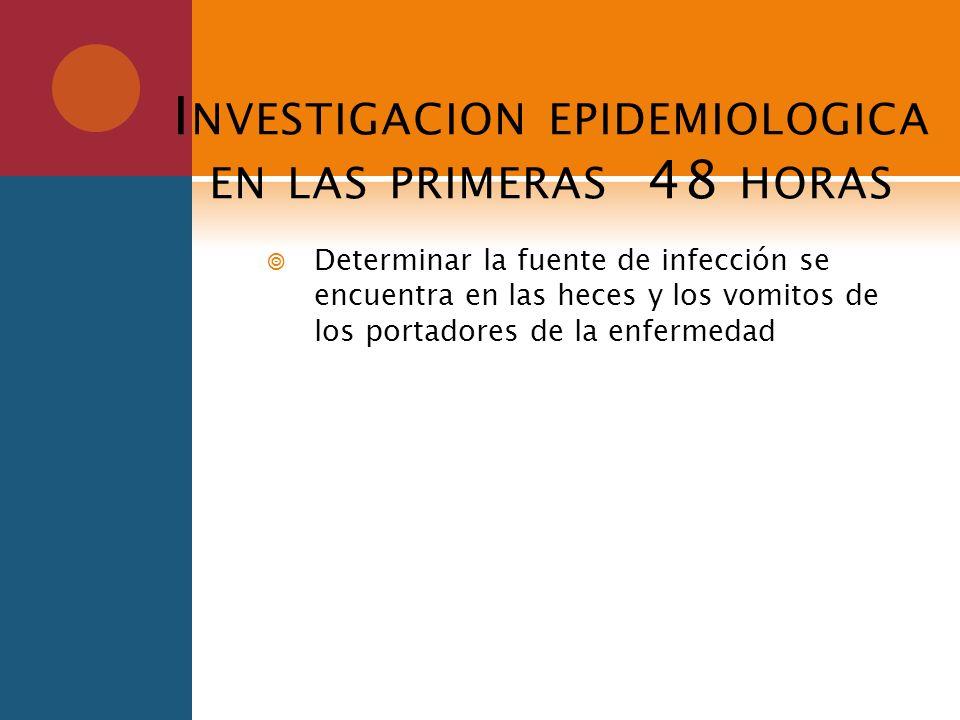 I NVESTIGACION EPIDEMIOLOGICA EN LAS PRIMERAS 48 HORAS Determinar la fuente de infección se encuentra en las heces y los vomitos de los portadores de
