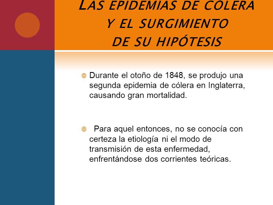 L AS EPIDEMIAS DE CÓLERA Y EL SURGIMIENTO DE SU HIPÓTESIS Durante el otoño de 1848, se produjo una segunda epidemia de cólera en Inglaterra, causando