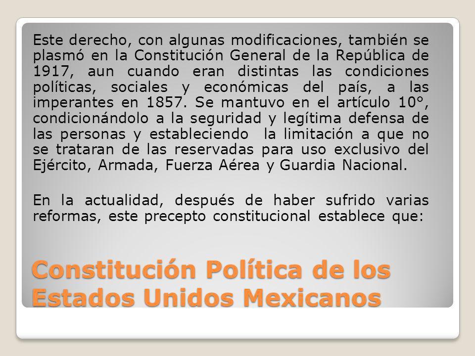 Constitución Política de los Estados Unidos Mexicanos Este derecho, con algunas modificaciones, también se plasmó en la Constitución General de la Rep