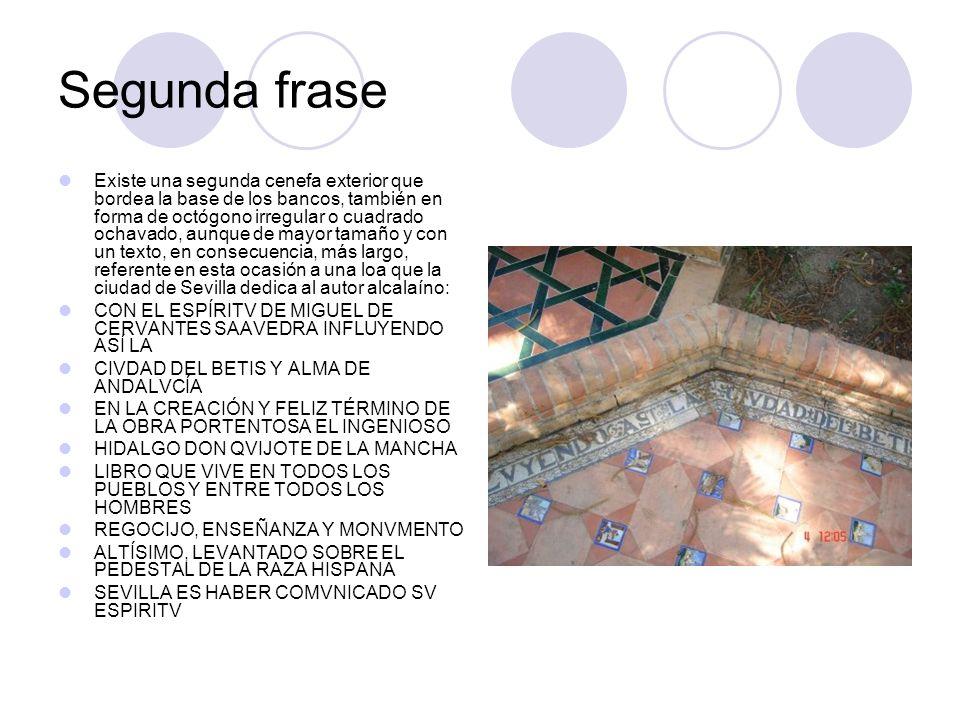 Banco Cervantino En el motivo central esta representada la figura del quijote y sancho con un paisaje de la mancha al fondo.