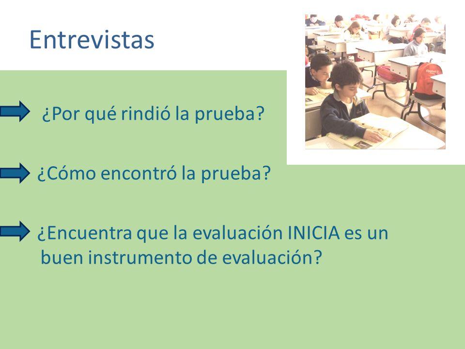 Entrevistas ¿Por qué rindió la prueba? ¿Cómo encontró la prueba? ¿Encuentra que la evaluación INICIA es un buen instrumento de evaluación?