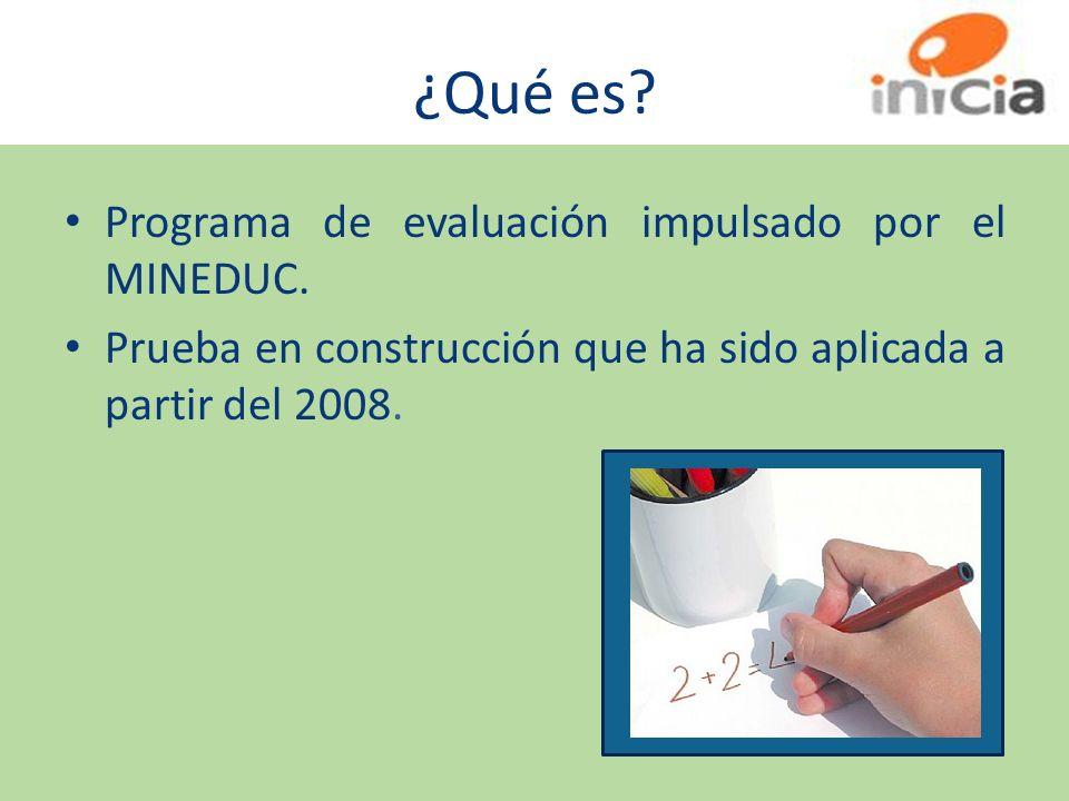 ¿Qué es? Programa de evaluación impulsado por el MINEDUC. Prueba en construcción que ha sido aplicada a partir del 2008.