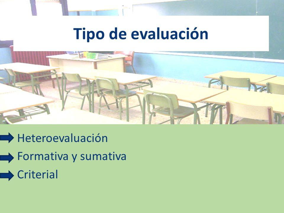 Heteroevaluación Formativa y sumativa Criterial Tipo de evaluación