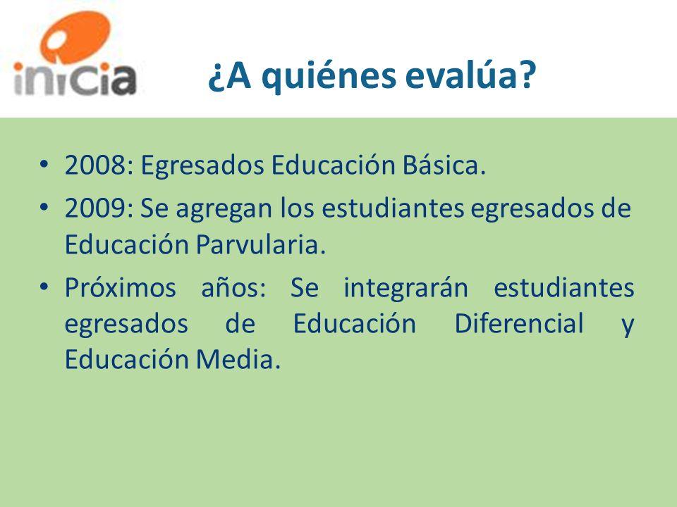 ¿A quiénes evalúa? 2008: Egresados Educación Básica. 2009: Se agregan los estudiantes egresados de Educación Parvularia. Próximos años: Se integrarán