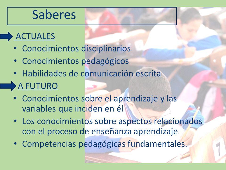 Saberes ACTUALES Conocimientos disciplinarios Conocimientos pedagógicos Habilidades de comunicación escrita A FUTURO Conocimientos sobre el aprendizaj