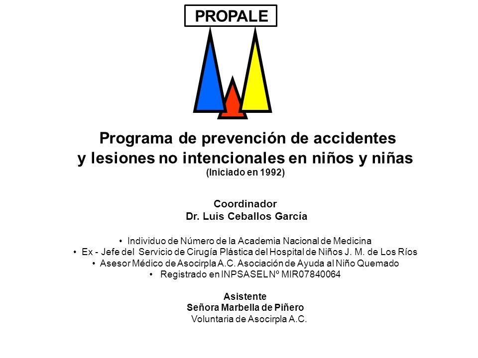 Programa de prevención de accidentes y lesiones no intencionales en niños y niñas (Iniciado en 1992) Coordinador Dr. Luis Ceballos García Individuo de