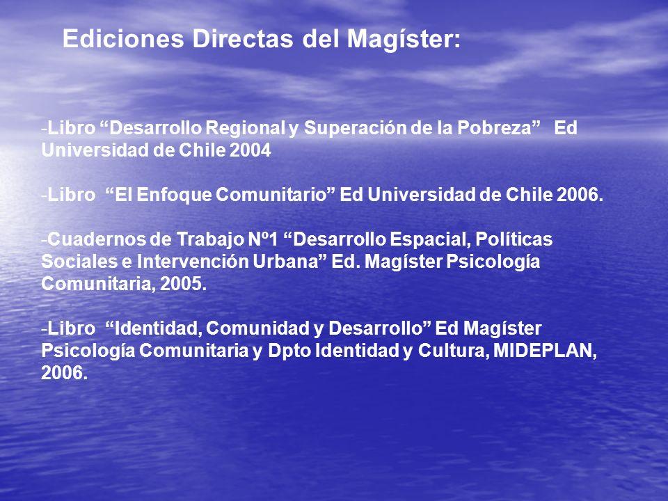 -Libro Desarrollo Regional y Superación de la Pobreza Ed Universidad de Chile 2004 -Libro El Enfoque Comunitario Ed Universidad de Chile 2006. -Cuader