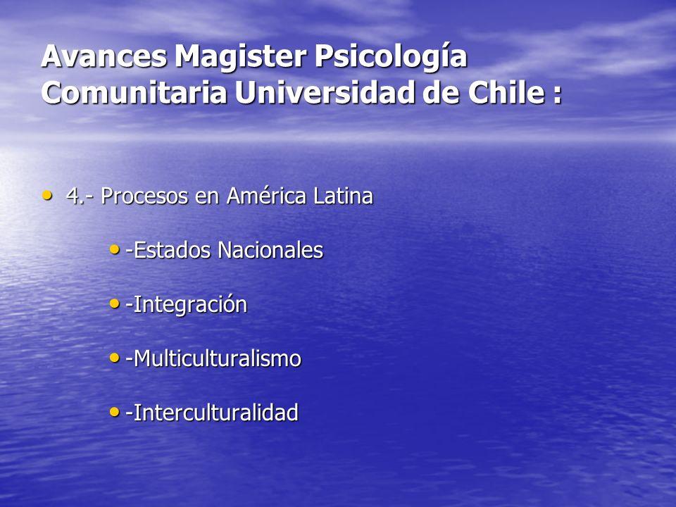 Avances Magister Psicología Comunitaria Universidad de Chile : 4.- Procesos en América Latina 4.- Procesos en América Latina -Estados Nacionales -Esta