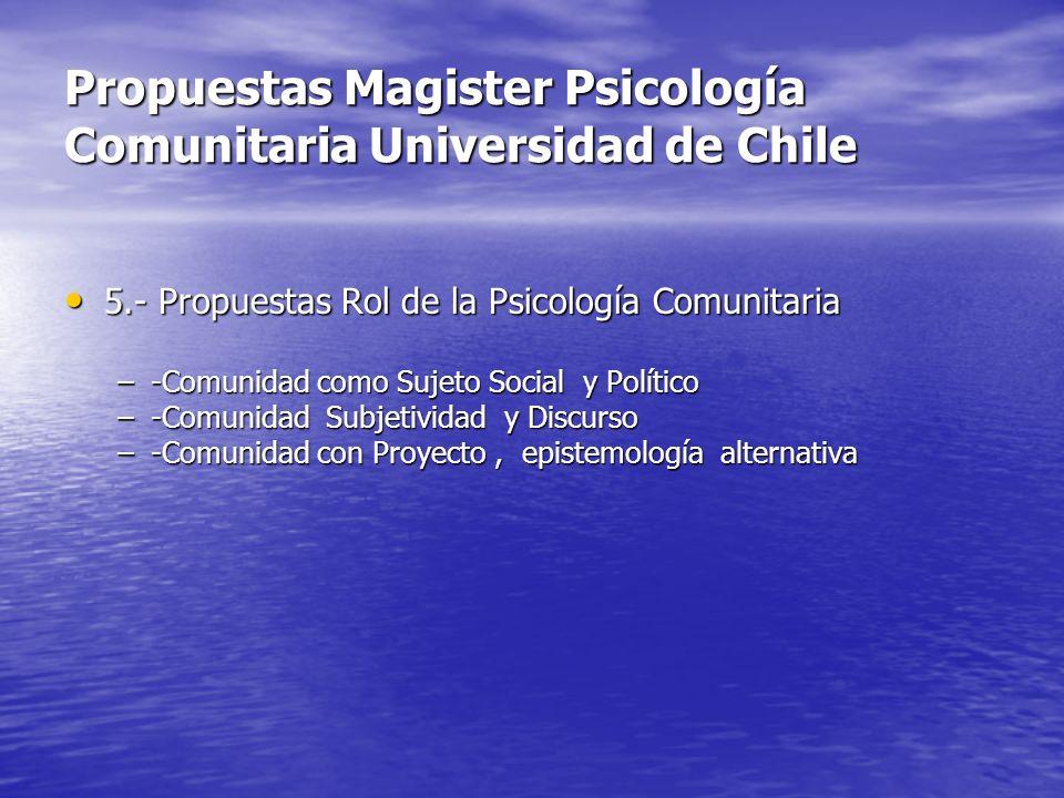 Propuestas Magister Psicología Comunitaria Universidad de Chile 5.- Propuestas Rol de la Psicología Comunitaria 5.- Propuestas Rol de la Psicología Co