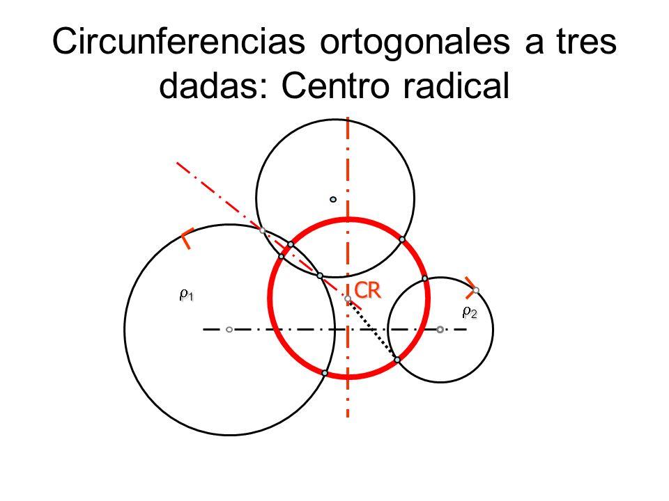 Circunferencias ortogonales a tres dadas: Centro radical 1 2 CR