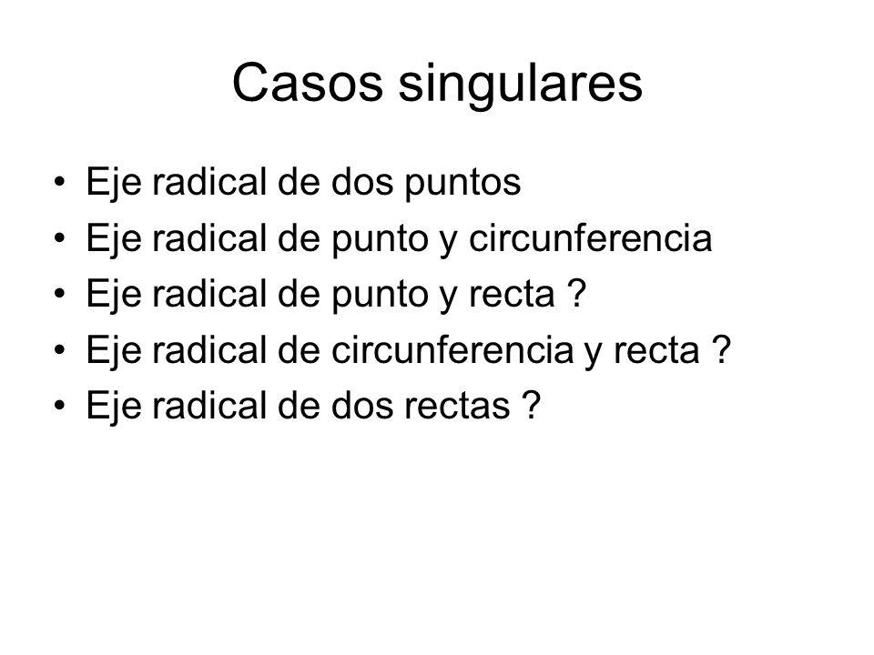 Casos singulares Eje radical de dos puntos Eje radical de punto y circunferencia Eje radical de punto y recta ? Eje radical de circunferencia y recta