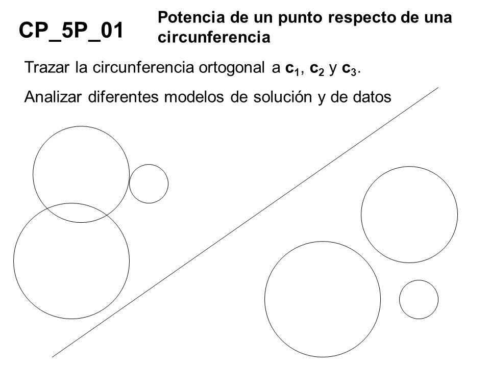 CP_5P_01 Potencia de un punto respecto de una circunferencia Trazar la circunferencia ortogonal a c 1, c 2 y c 3. Analizar diferentes modelos de soluc
