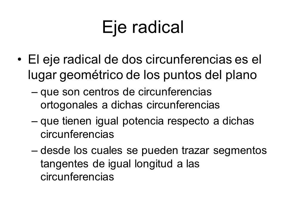 R R 1 d1d1d1d1 d2d2d2d2 2 d 1 2 = 1 2 +R 2 d 2 2 = 2 2 +R 2 d 1 2 - d 1 2 = 1 2 - 2 2 = cte Eje radical El lugar geométrico de los centros C o de todas las circunferencias c o ortogonales a c 1 y c 2 son los puntos del eje radical e exterior a c 1 y c 2.