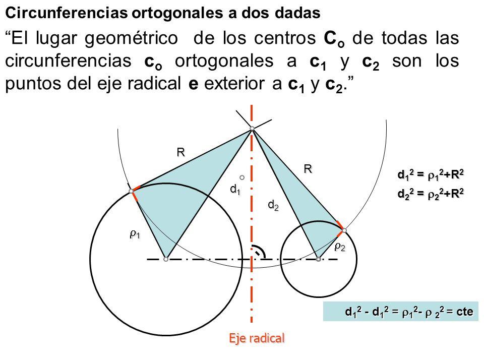 Centro radical de tres circunferencias El Centro radical CR de tres circunferencias coplanarias es un punto de su plano: –es intersección de los tres ejes radicales de las circunferencias –tiene igual potencia respecto a dichas circunferencias –es centro de la circunferencia ortogonal a dichas circunferencias –desde el cual se pueden trazar segmentos tangentes de igual longitud a las tres circunferencias