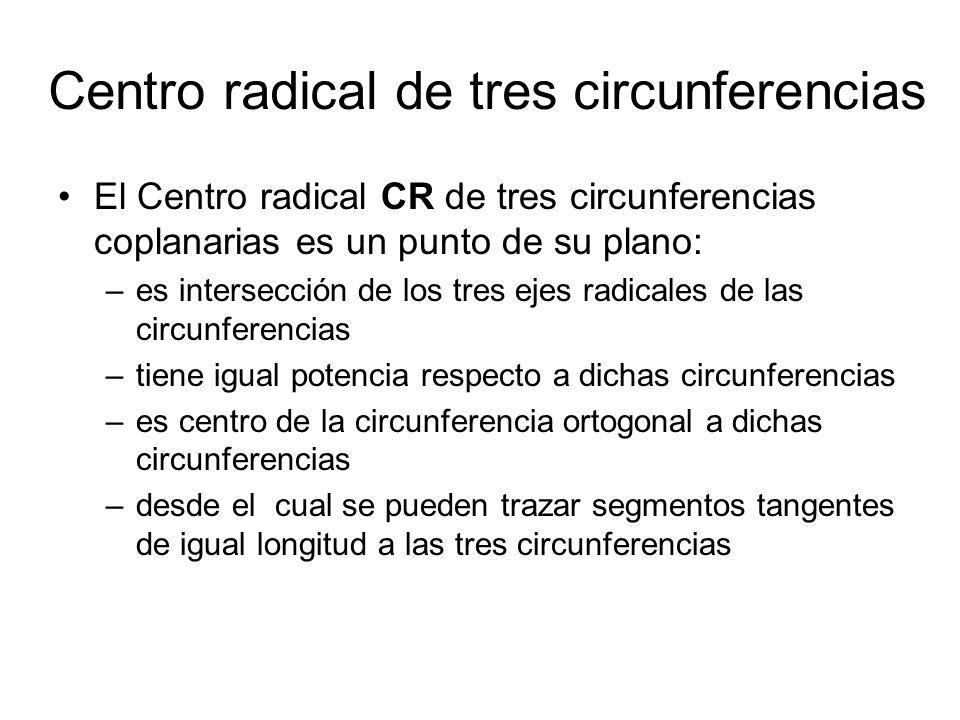 Centro radical de tres circunferencias El Centro radical CR de tres circunferencias coplanarias es un punto de su plano: –es intersección de los tres