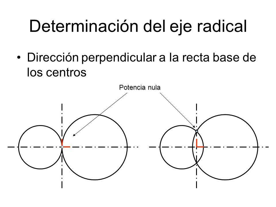 Determinación del eje radical Dirección perpendicular a la recta base de los centros Potencia nula