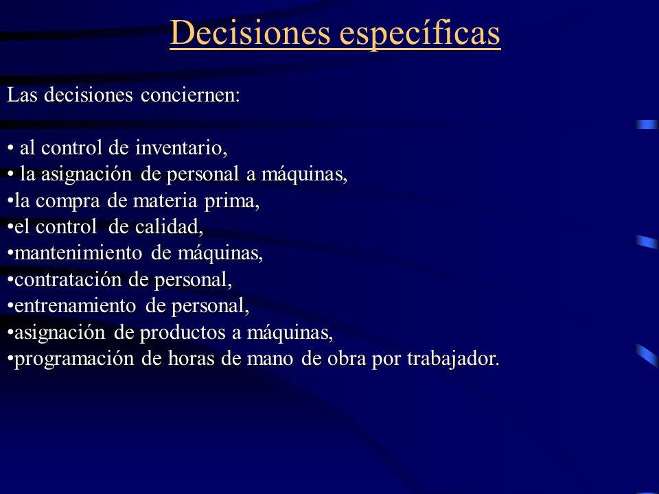Decisiones específicas Las decisiones conciernen: al control de inventario, al control de inventario, la asignación de personal a máquinas, la asignac