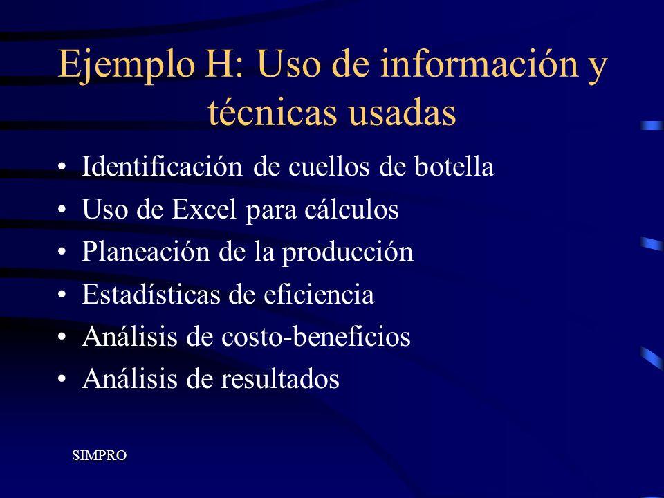 Ejemplo H: Uso de información y técnicas usadas Identificación de cuellos de botella Uso de Excel para cálculos Planeación de la producción Estadístic