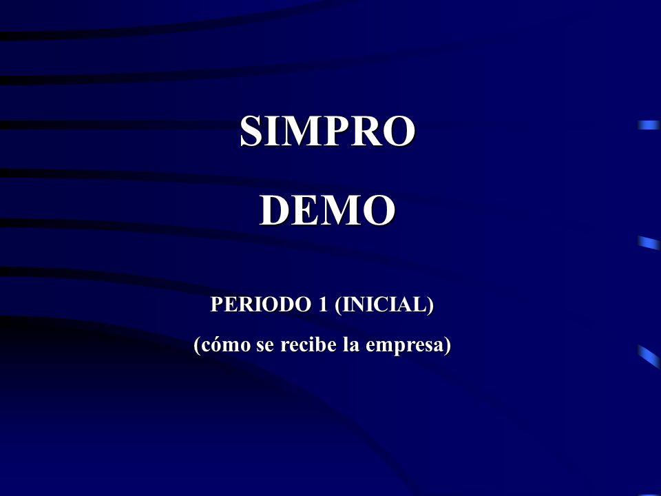PERIODO 1 (INICIAL) (cómo se recibe la empresa) SIMPRODEMO