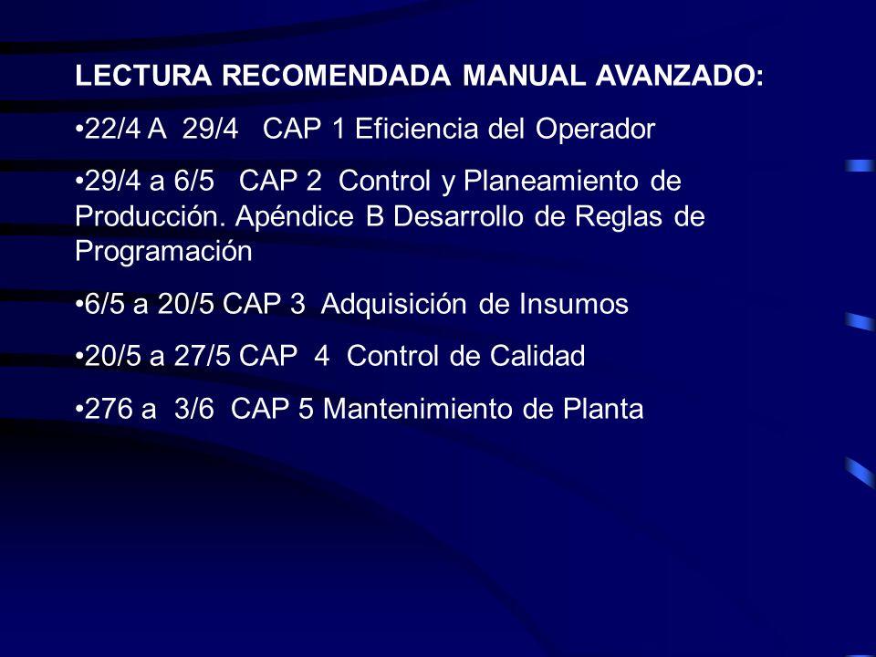 LECTURA RECOMENDADA MANUAL AVANZADO: 22/4 A 29/4 CAP 1 Eficiencia del Operador 29/4 a 6/5 CAP 2 Control y Planeamiento de Producción. Apéndice B Desar