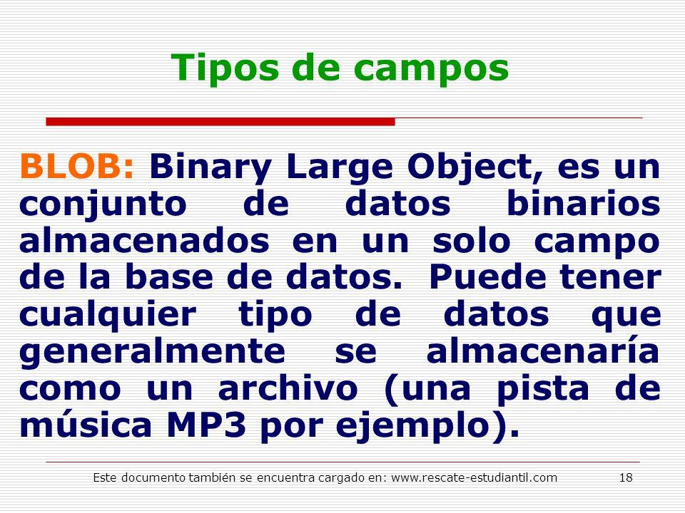 Tipos de campos BLOB: Binary Large Object, es un conjunto de datos binarios almacenados en un solo campo de la base de datos. Puede tener cualquier ti