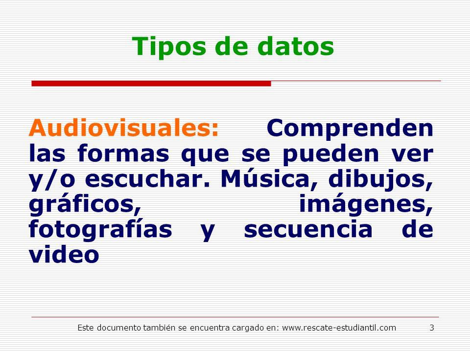 Tipos de datos Audiovisuales: Comprenden las formas que se pueden ver y/o escuchar. Música, dibujos, gráficos, imágenes, fotografías y secuencia de vi