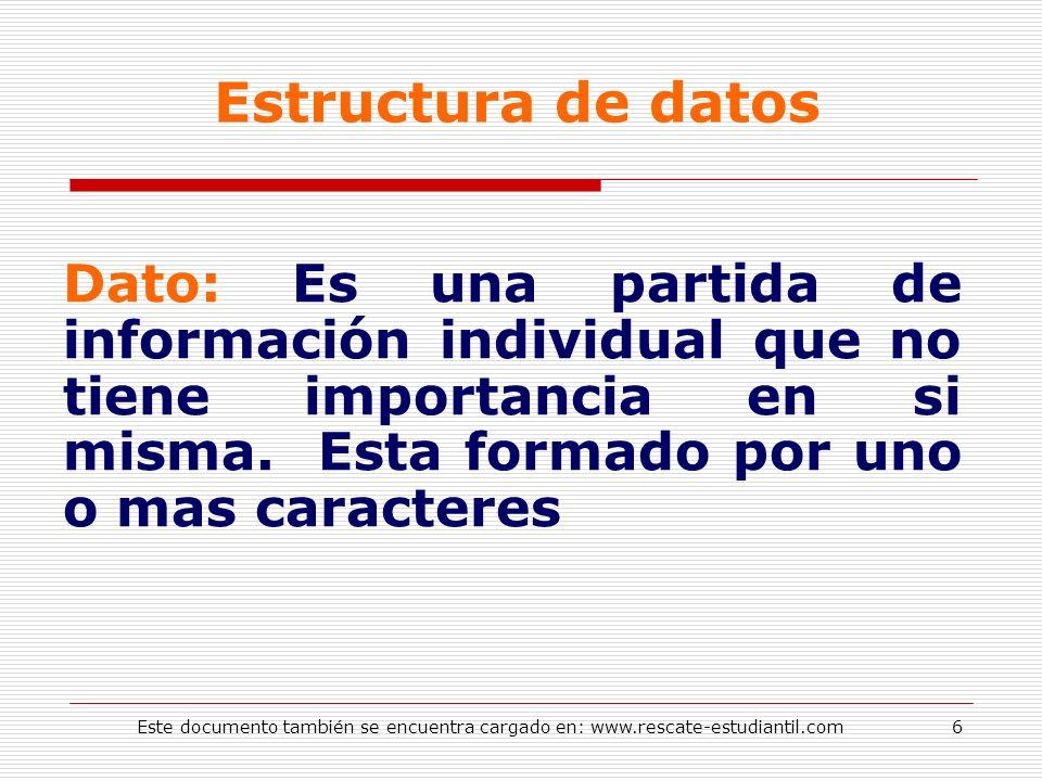 Estructura de datos Dato: Es una partida de información individual que no tiene importancia en si misma. Esta formado por uno o mas caracteres 6Este d