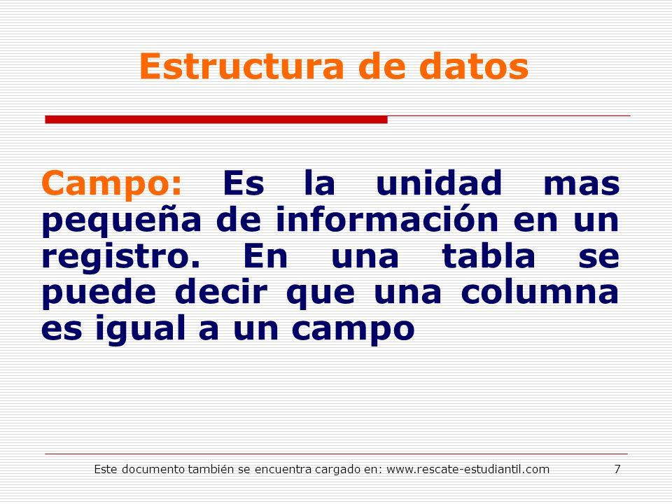 Estructura de datos Campo: Es la unidad mas pequeña de información en un registro. En una tabla se puede decir que una columna es igual a un campo 7Es